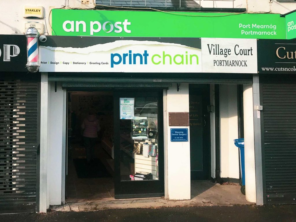 Printchain Portmarnock shop front, providing printing, copying, business services and stationery in north Dublin.